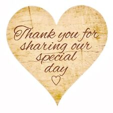 72 x Rustic 'Thank You For Sharing our Special Day' Wedding Stickers Favours