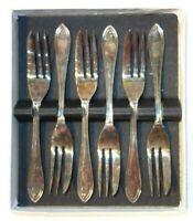 Vintage Set Of 6 James Ryals EPNS Pastry Cake Forks Boxed Silver Plated