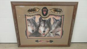 Dave Merrick 98 Family Wolf Photo Picture Frame Matted Signed Three Animal 45x36