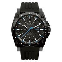 Bulova Men's Precisionist Champlain Quartz Black Rubber Band 47mm Watch 98B142