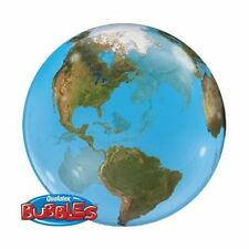 EARTH GLOBE PLANET SPHERE LARGE PARTY BUBBLE BALLOON HELIUM QUALATEX ROUND