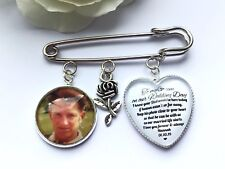 Groom Buttonhole Photo Charm Message From Bride Grooms Gift Buttoniere Wedding