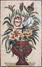 "32"" Handmade Colorful Floral Vase Kitchen Backsplash Home Marble Mosaic Art Ston"