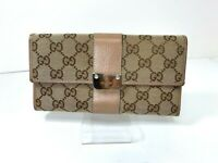 GUCCI Horse Bit GG Logo Pattern Canvas Leather long Wallet Italy Y-1179