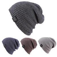 Women's Mens Unisex Knit Hat Winter Warm Ski Crochet Slouch Cap Beanie Oversized