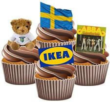 Fun Swedish Sweden Mix Cake Toppers Wafer Card Novelty Decorations Eurovision