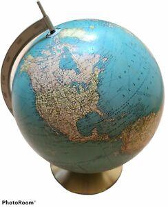Vintage Rand McNally Light-up Lighted Indexed Terrestrial World Globe Lamp