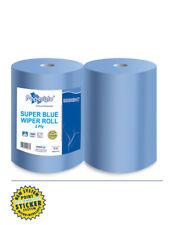 2 Rol. Putzpapier Wischtücher Reinigungstücher Putzrolle blau 37cm 1000 Abrisse