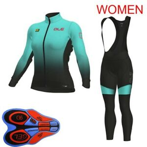 Womens Bicycle Clothing Cycling Long Sleeve Jersey Bib Pants Set Sports Suit