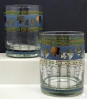 Cera Golden Grapes Blue Double Old Fashioned Glasses Set of 2 Rocks Glasses