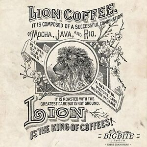 WATER DECAL: American Vintage Lion Coffee Label (Furniture Print Transfer) #018