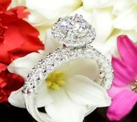 2.50ct round diamond wedding engagement bridal ring set fine 14k white gold over