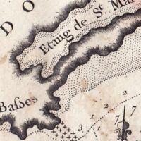 Carte XVIIIe Languedoc Etang St Martin Fort de Brescon Conque Cap D'Agde 1764