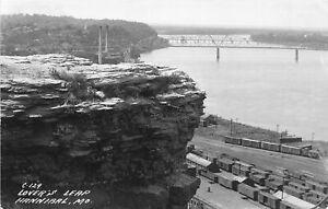 H37/ Hannibal Missouri RPPC Postcard c1940s Lover's Leap Railroad Geology