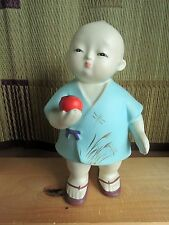 9 inch Japanese Hakata doll : Boy has persimmon : vintage : made in Japan