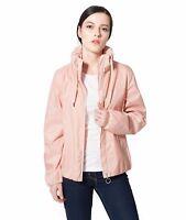 Women's Lightweight Water-Resistant Hooded Windbreaker Rain Jacket Coat Outwear