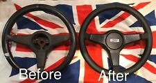 Your Rover Mini Cooper Steering Wheel Re-trimmed In Black Leather Red stitch
