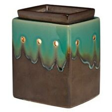 Scentsy Elemental Dripping Glossy Teal & Metallic Brownish Gray Full Size Warmer