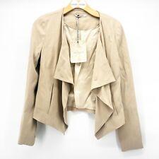 Women's Anthropologie Beatrice B Italia Sz 6 Open Drape Blazer Jacket Beige