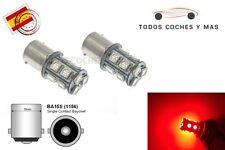 2 X BOMBILLAS LED COCHE BA15S 13SMD 5050 1156 P21W FRENOS LUCES TRASERA ROJO