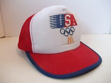 McDonald's USA Olympic Hat Vintage 1984 Red Snapback Trucker Cap White Paint