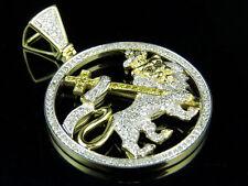 "10K Yellow Gold Lion Of Judah Genuine Diamond Pendant 1.55Ct 1.7"""