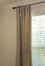 "Custom embroidered linen drapery panels, 50"" x 100"", Geometric Pattern, Lined"