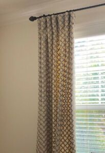 "Custom embroidered linen drapery panels, 50"" x 100"", Geometric Pattern, Lined"