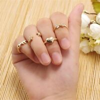 6PCS ABOVE KNUCKLE RING BAND MIDI FINGER STACK PLAIN RINGS SET GOLD/SILVER