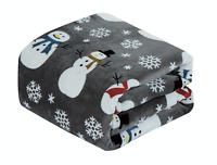 Ultra Soft & Cozy Oversized Christmas Gray Snowman Plush Throw Blanket Cover