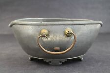 Vintage Chinese Export 2 Handled Etched Fish Waves Scrolls Footed Metal Bowl