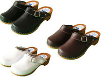 Womens Hand Made Clogs Slip On Sandals Ladies Wooden Sole Leather Size US 6-10
