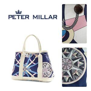 🆕️PETER MILLAR Women's Nautical Tote Bag Purse Blue Pink LEATHER TRIM Blue Golf