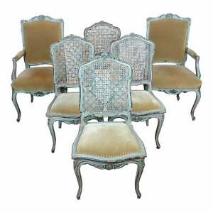 19th century French Fabulous Painted Dining Chairs -Set of 6
