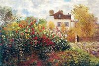 The Artist's Garden by Claude Monet 36x24 Art Print Poster