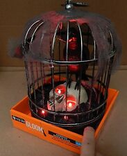 """Halloween Lighted LED Animated Raven In A Cage Gloom For Your Room 10"""" x 8"""" 114T"""