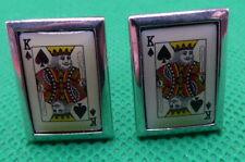 , Silver Toned , (C1591) Cufflinks , King Of Spades