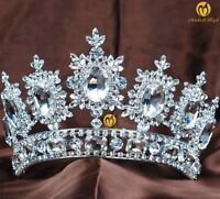 US Large Queen Crown Tiara Clear Round Rhinestone Brides Wedding Pageant Costume