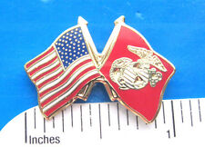 USMC Marine and US Flags - hat pin , tie tac , lapel pin , hatpin GIFT BOXED