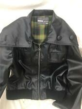 Modo Zipped Autumn Faux Leather Black Biker Bomber Jacket VGC size 12  1g9