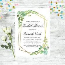 BRIDAL SHOWER INVITATIONS PERSONALISED INVITE FLORAL GREEN HIGH TEA FLORAL HENS