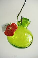 "Hummingbird Hand-Blown Glass Feeder ""One Sip"" Green - By Kitras Art Glass-Canada"