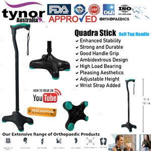 Tynor® Adjustable Ergonomic Black Walking Quadripod (Soft Handle) Moulded Base