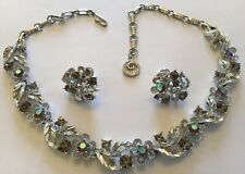 VINTAGE LISNER SIGNED BOREALIS RHINESTONE NECKLACE AND EARRINGS H6