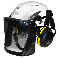 Stein Kask Super Plasma PL Tree Climbing Helmet Kit, Ear Defenders & Visor WHITE