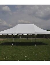 20x30 White Canopy Pole Tent Graduation Wedding PARTY PACKAGE Tables and Chairs
