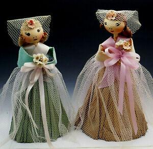 Vintage 1940's 50's Wedding Bridesmaid Bride Crepe Paper Spun Cotton Doll Figure