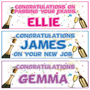 2 PERSONALISED CONGRATULATIONS BANNERS - ANY MESSAGE YOU LIKE