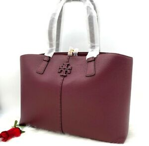 AUTH NWT Tory Burch McGraw Large Pebbled Leather Tote Shopper In Claret