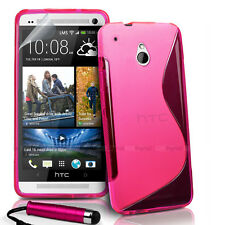 PINK S CURVE GEL TPU Jelly CASE COVER FOR HTC ONE Mini + Stylus + Screen Film